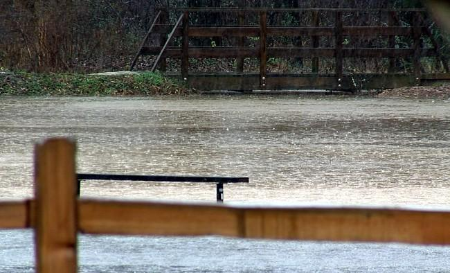 Heavy rains flooded Veterans Park in Hoover, Alabama on Wednesday.