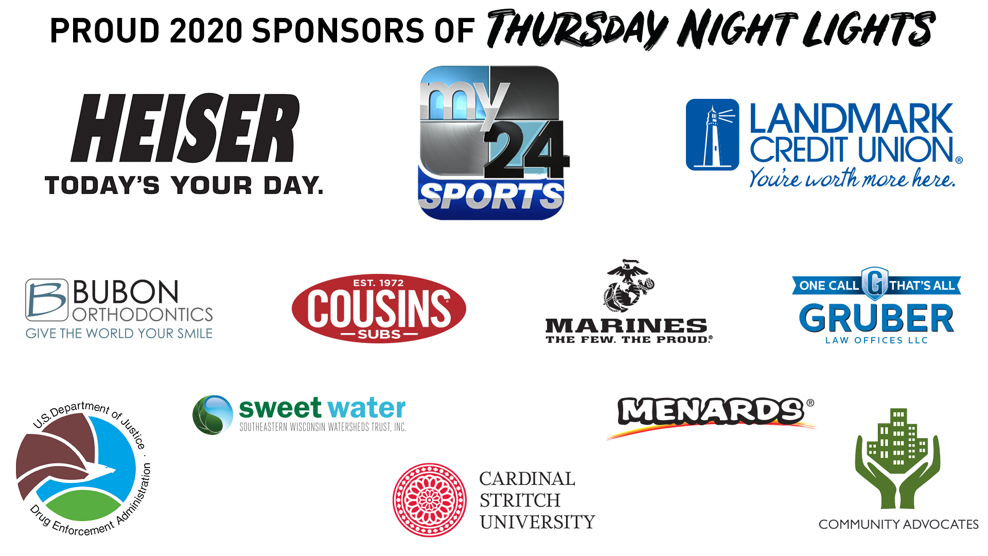 Heiser Automotive Group THURSDAY NIGHT LIGHTS presented by Landmark Credit Union | Proud 2020 Sponsors