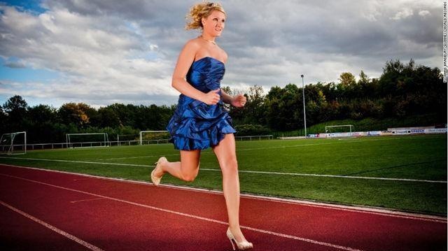 The fastest female wearing high heels for a 100-meter dash was Julia Plecher from Germany. She ran 14.531 seconds on the set of Guinness World Records in Europa Park, Rust, Germany, on July 13, 2012.