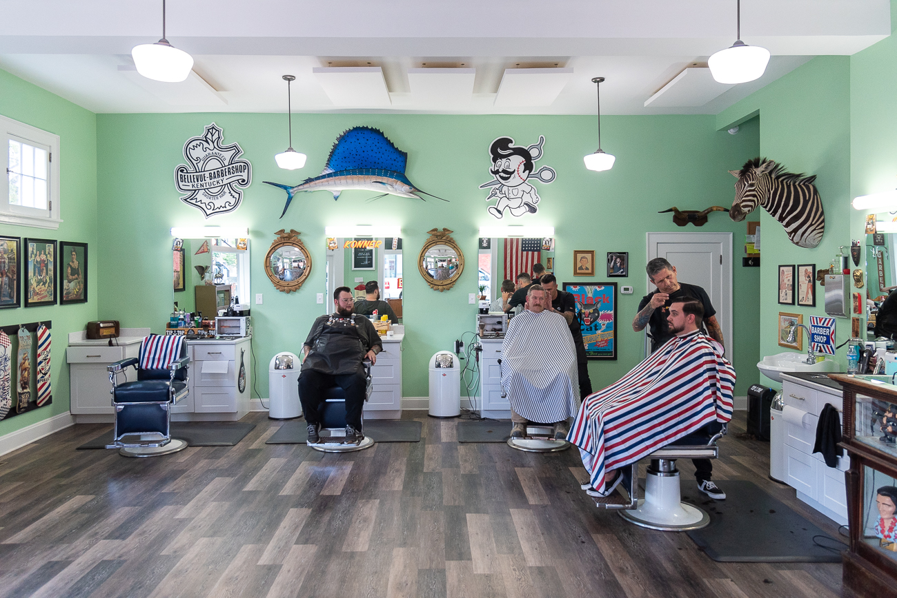 Clients are encouraged to book online (Bellevue-Barbershop.com) to ensure they don't have to wait for a cut. If they do, they get free refreshments from the fridge. The shop is cash only, and a standard haircut costs $25. / Image: Phil Armstrong, Cincinnati Refined // Published: 7.10.20