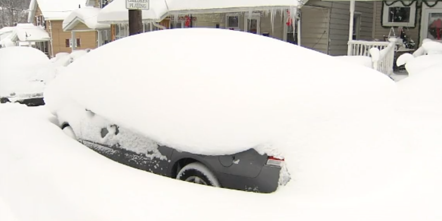 Record two-day snowfall covers Erie, Pennsylvania. (Image credit: WICU via CNN Newsource)