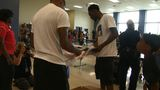 Robert Easter Jr. surprises students with visit, t-shirts