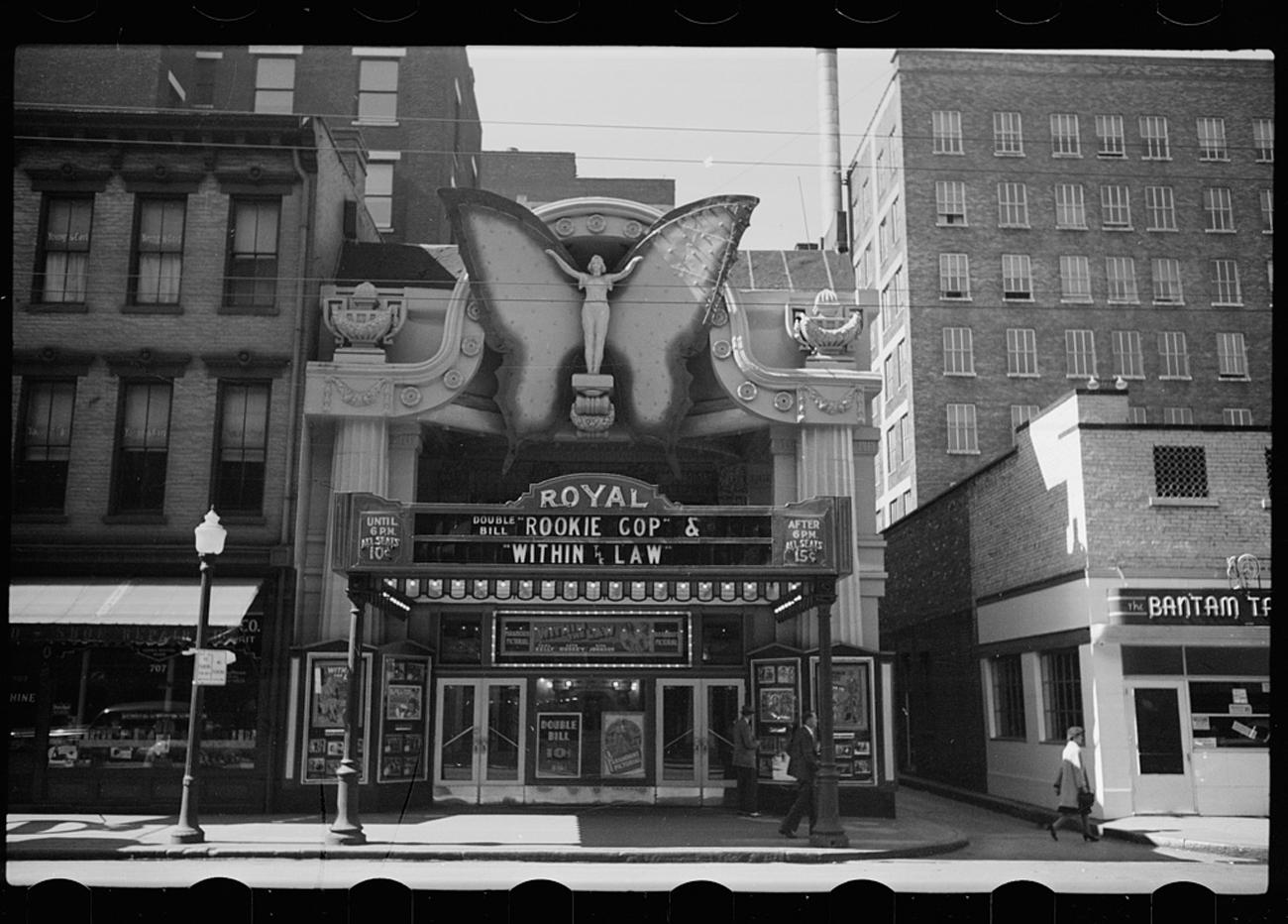 """Theater, Cincinnati, Ohio"" shows The Royal Theatre in October 1938. / Image: John Vachon for the U.S. Farm Security Administration/Office of War Information accessed via the Library of Congress Archives // Published: 3.4.19"