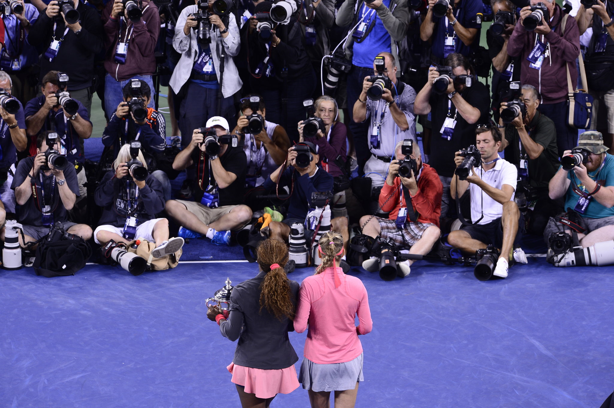 Azarenka with Serena Williams, a friend as well as a rival, after Williams defeated her in the 2013 United States Open final. Credit Ben Solomon for The New York Times