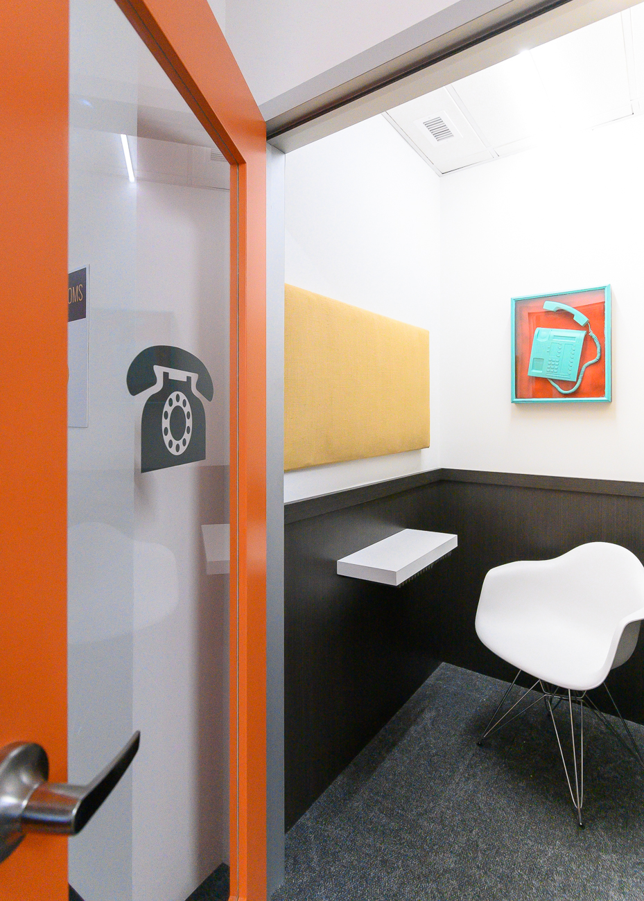 Quiet phone booths are open to anyone with a membership—private office or otherwise. / Image: Phil Armstrong, Cincinnati Refined // Published: 2.11.20<p></p>