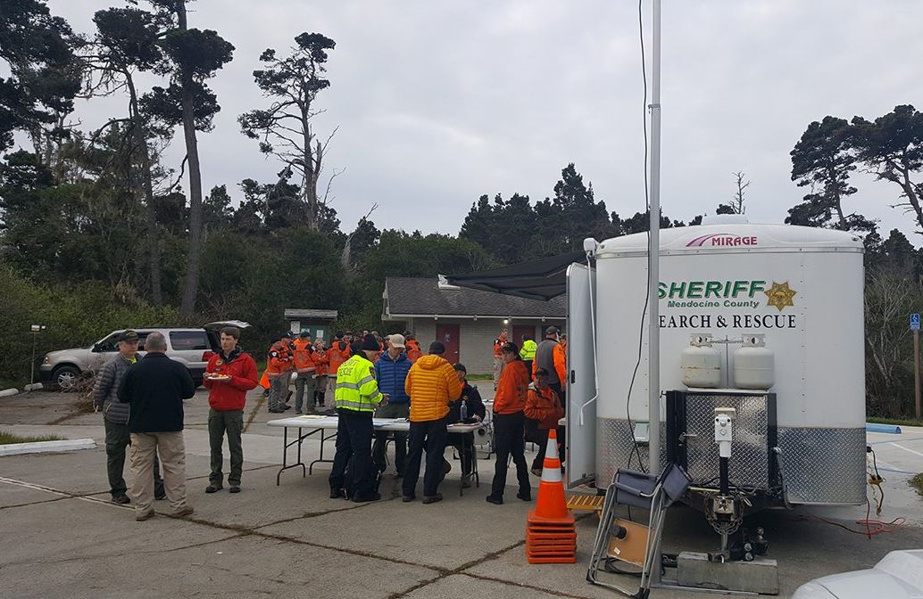 Dozens of people searched for the missing Hart children on April 4, 2018. Photo courtesy Mendocino County Sheriff