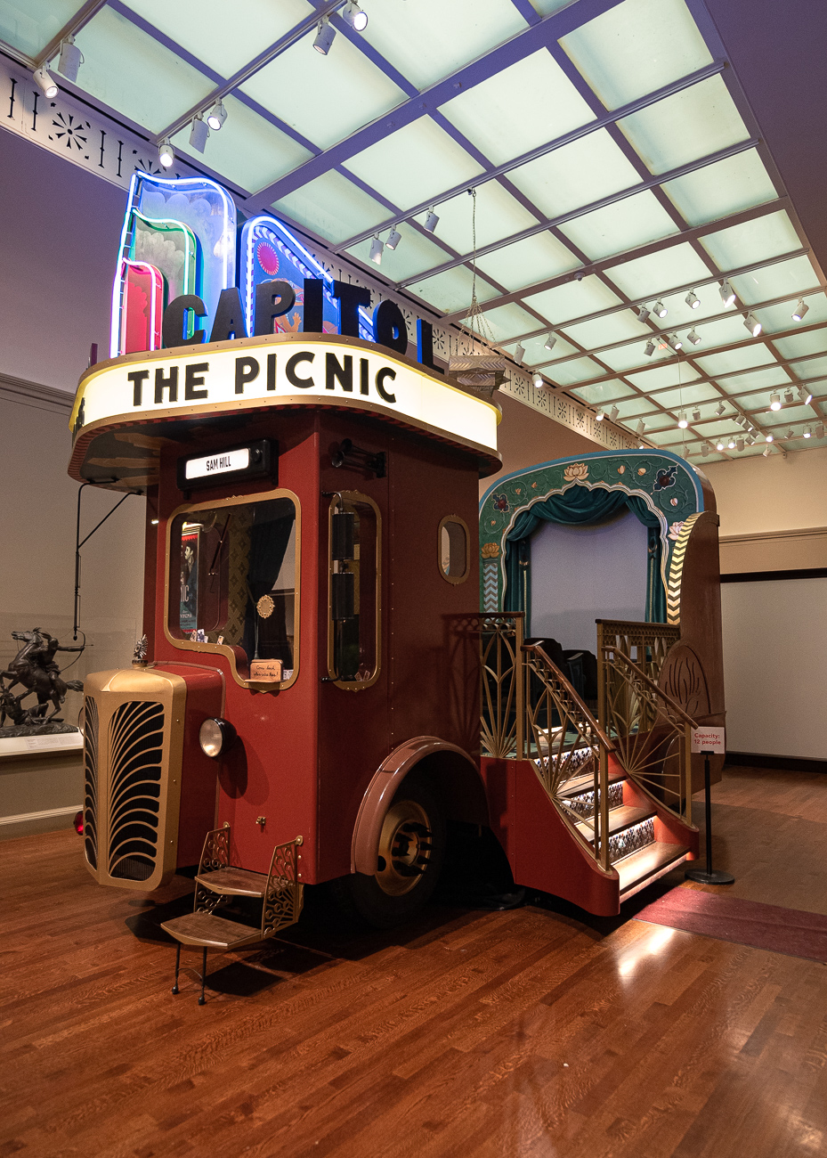 Pictured: Capitol Theater (2018) by Five Ton Crane / No Spectators: The Art of Burning Man, while still smoldering from its hot feature in DC's prestigious Renwick Gallery, spreads its colorful tendrils throughout two floors of the Cincinnati Art Museum from now until September 2, 2019. CAM is the only museum in the entire Midwest that's planned to receive the show, attracting spectators (despite its title) from peer cities around the country. Burning Man is a contemporary art show that gathers in the desert outside Reno, Nevada once a year. The exhibit, which pulls art from Burning Man, puts installations in various galleries throughout the museum to encourage exploration. / Image: Phil Armstrong, Cincinnati Refined // Published: 6.21.19