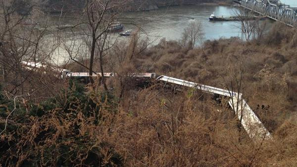 The scene of the derailment from a hill in the Bronx.