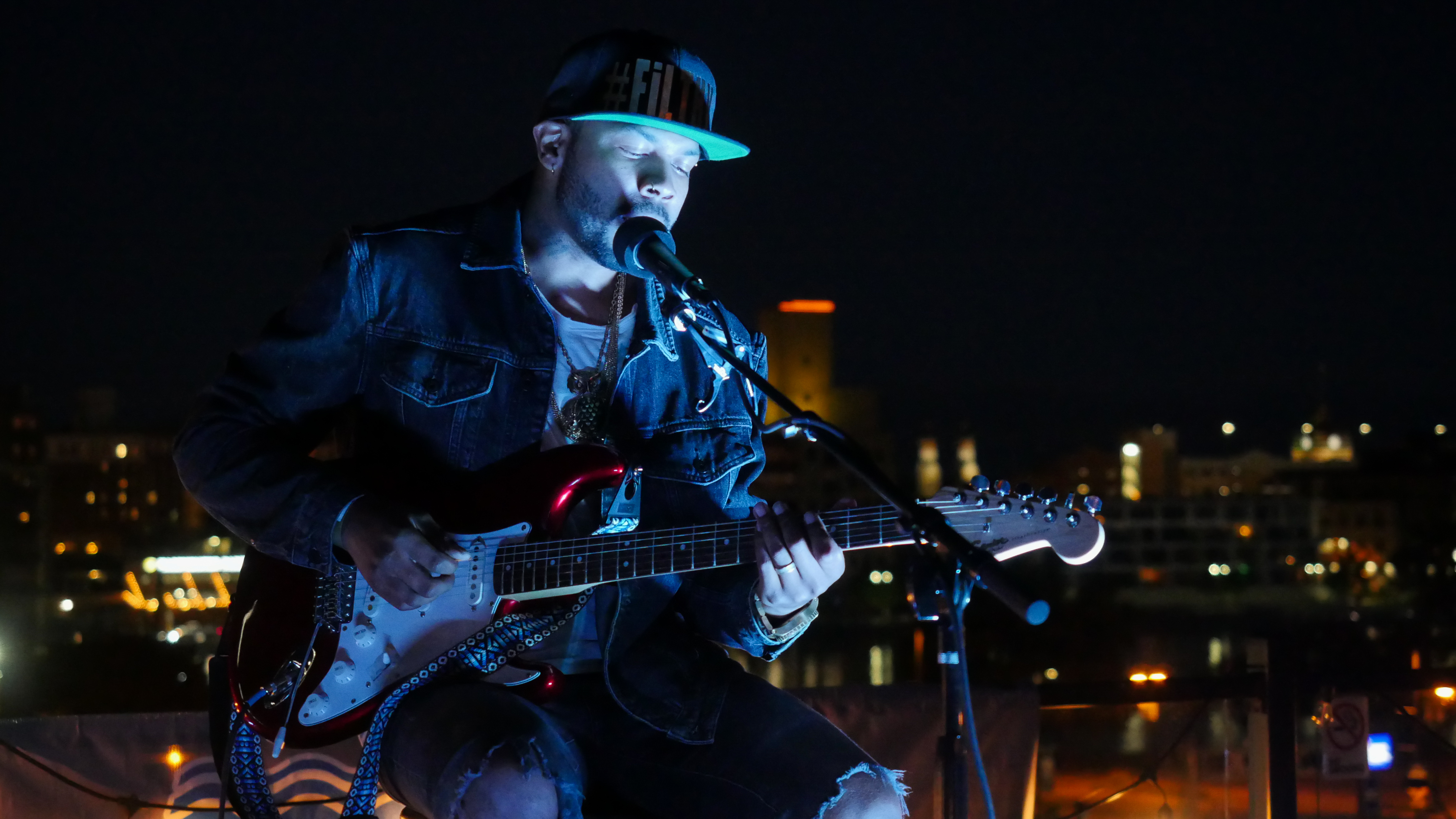 Seattle's Ayron Jones performing Hopeland Festival 2019 at Titletown Brewing Co.'s Rooftap in the Railyard District of downtown Green Bay, Friday, September 6th, 2019 (WCWF/ Beni Petersen)