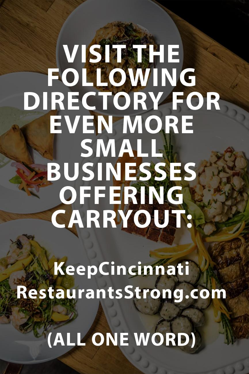 Visit KeepCincinnatiRestaurantsStrong.com (all one word) for even more small businesses offering carryout. / Image: Catherine Viox // Published: 3.17.20
