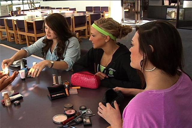 Emily Hillaker (left), Rachel Hillaker (middle), and Donna Williams were surprised to learn of toxins in their makeup