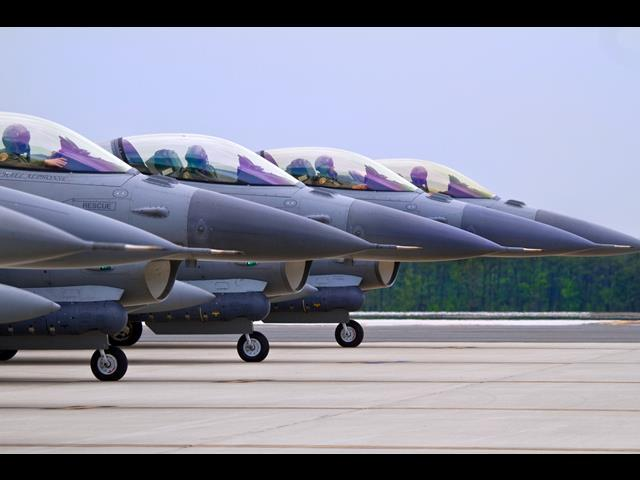 Air Force F-16C Fighting Falcons prepare to depart Atlantic City Air National Guard Base, N.J., May 27, 2014, for a Pacific Air Forces deployment.