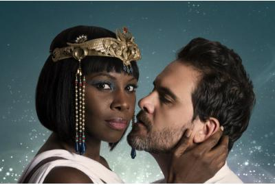 Shirine Babb (Cleopatra) and Cody Nickell (Mark Antony) at Folger Theatre. (Photo by James Kegley)