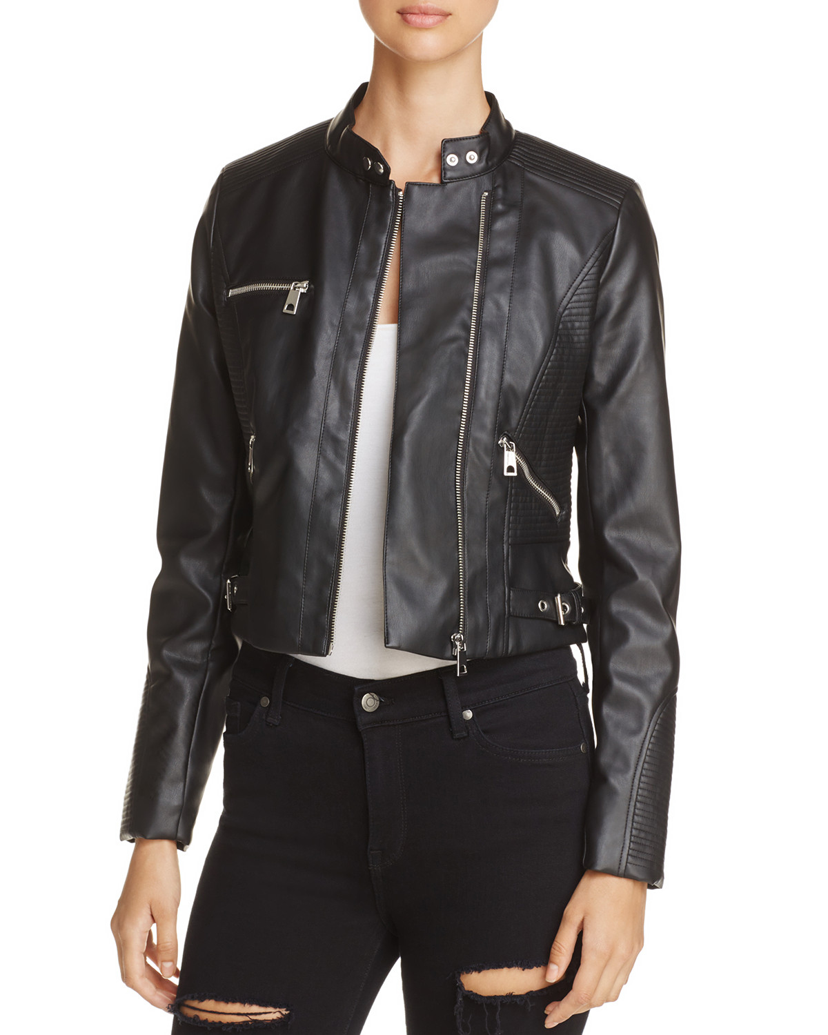 Vero Moda Calandra Faux Leather Moto Jacket from Bloomingdale's // Price: $75 // (Photo courtesy: Bloomingdale's)<p></p>