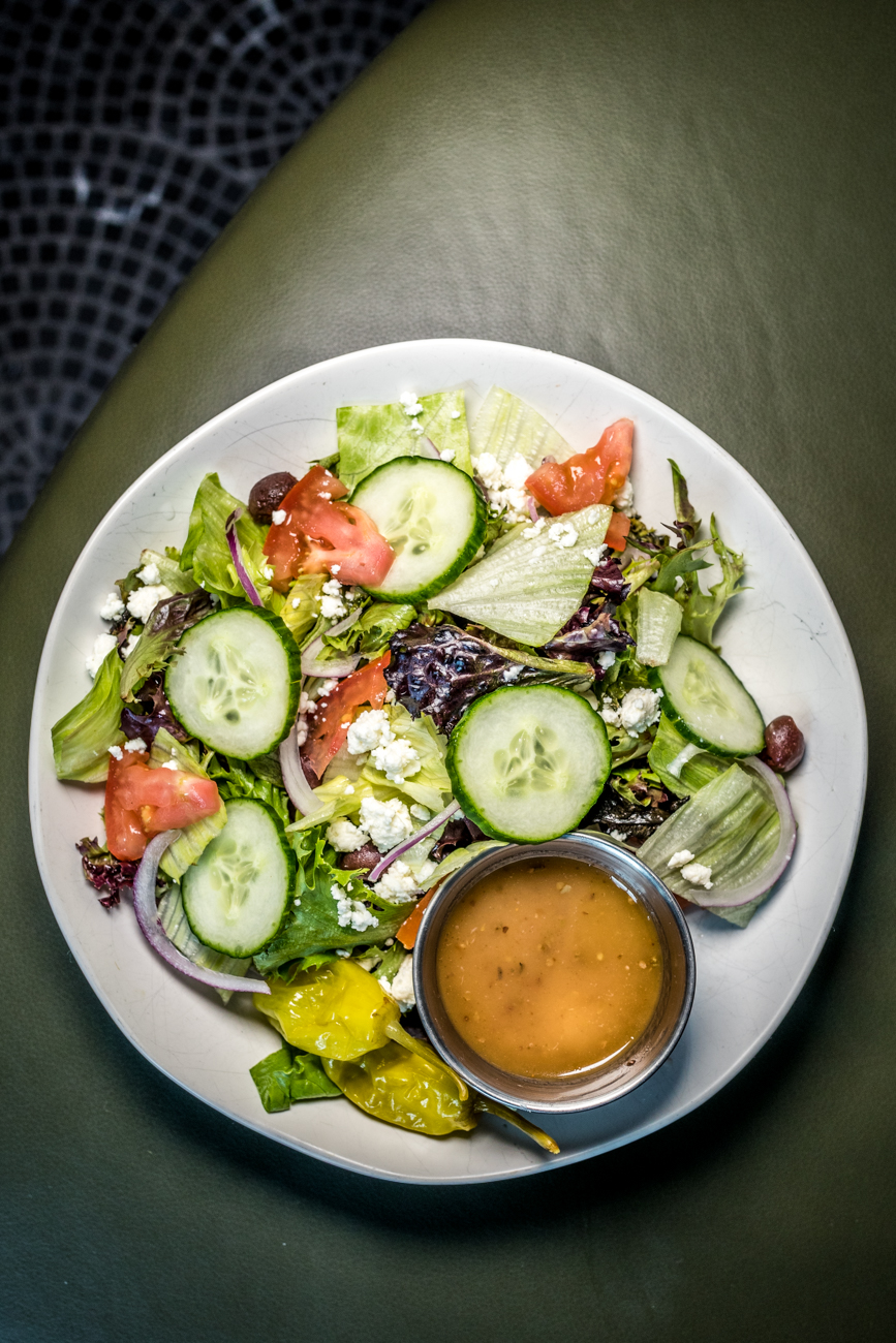 Greek Salad: feta, cucumber, chickpea, tomato, and olive / Image: Catherine Viox // Published: 6.29.20