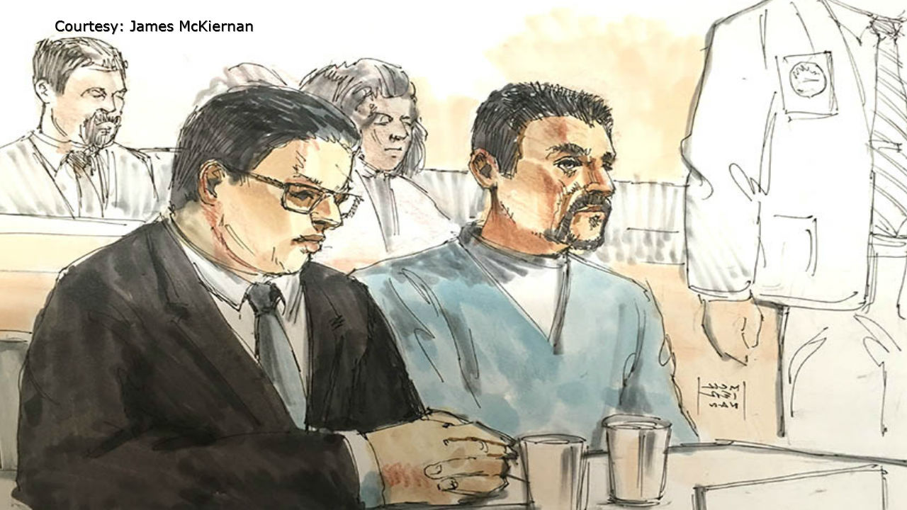 Sketch artist's rendering of Joseph Jakubowski, right, appearing in federal court in Madison for his sentencing Dec. 20, 2017. (Courtesy James McKiernan via WMTV-TV)
