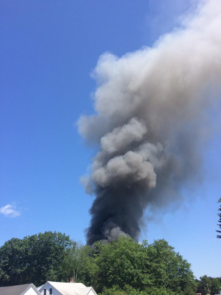 A fire in Waterboro sent a column of smoke into the sky Sunday morning.  (Jacqueline Moneypenny)
