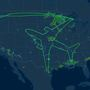 Photo: Boeing test flight path outlines 787 on US
