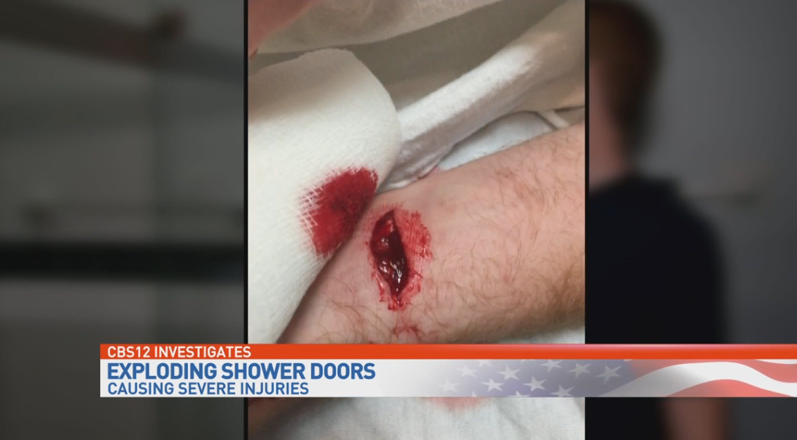 Exploding glass shower doors. (WPEC)
