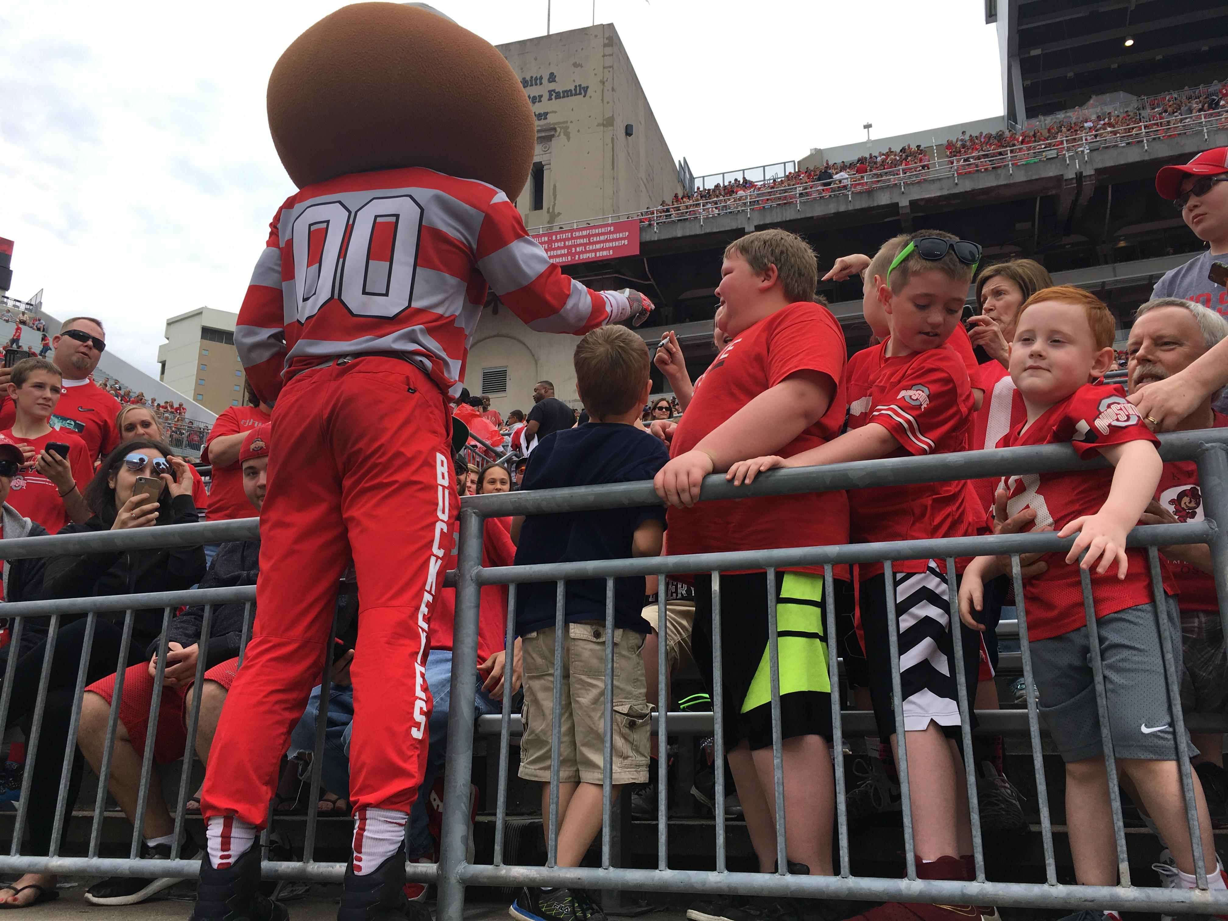 Brutus Buckey with OSU fans