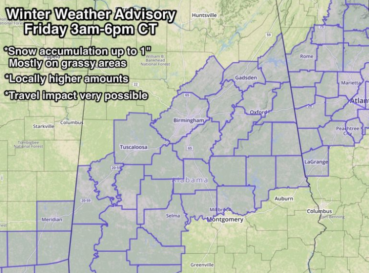 Winter weather advisory issued for parts of Central and Southwest Alabama tomorrow