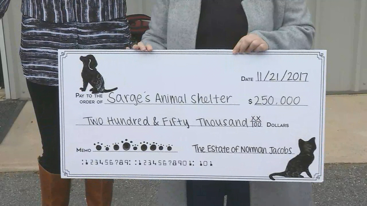 Wendy Rota traveled from her home in Colorado to donate a check for $250,000 to Sarge's Animal Rescue. (Photo credit: WLOS Staff)
