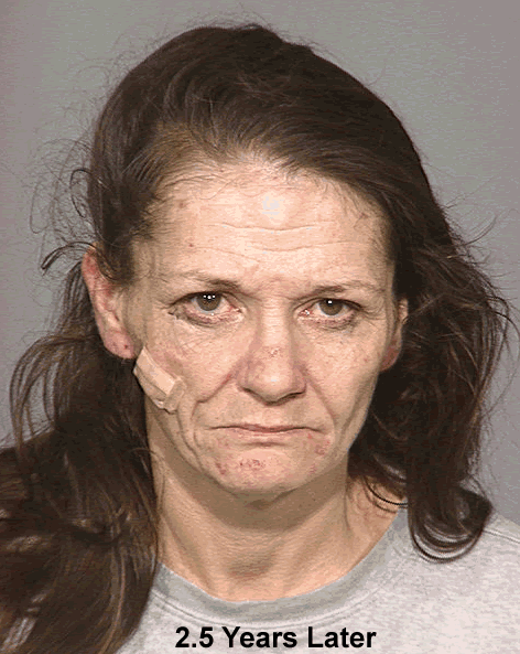"Photo of same woman taken 2.5 years after methamphetamine related use according to Multnomah County Sheriff's Office, Oregon. The photo was part of a 2005 project called ""Faces of Meth"" put on by the Multnomah County Sheriff's Office to help raise awareness about the drug's dangers.  (Photo and info courtesy of the Multnomah County Sheriff's Office)"