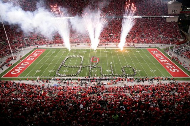 Script Ohio was first performed by The Best Damn Band In The Land on October 24, 1936. the band spells out a cursive Ohio while playing.