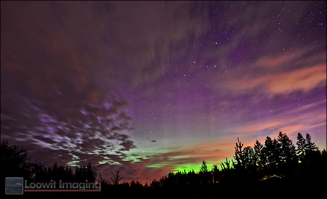 Northern Lights from Shelton (Courtesy: Steven Rosenow, Loowit Imaging)