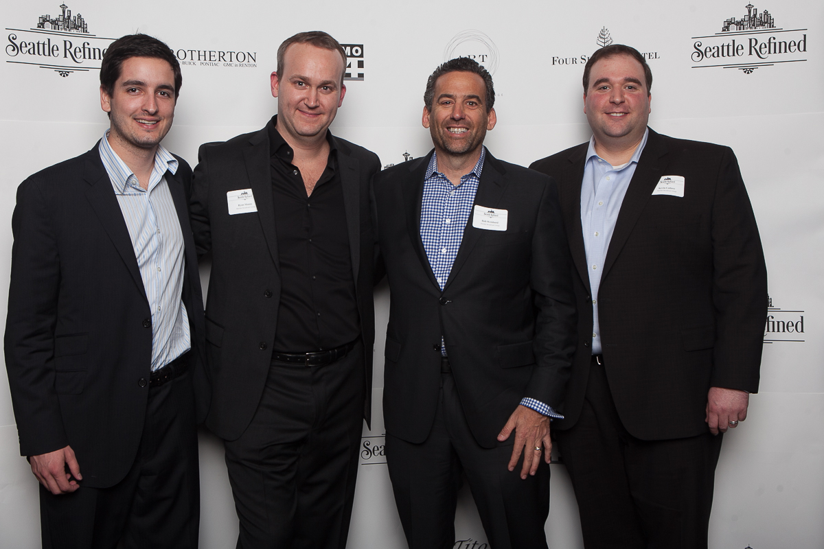 Ryan Moore, Jason Smith, Rob Weisbord and Kevin Cotlove celebrate the launch of Seattle Refined at the Four Season. (Image: Joshua Lewis / Seattle Refined)