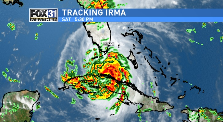 As of 5 p.m., Irma is 540 miles south-southeast of Tallahassee, 680 miles south-southeast of Columbus and 750 miles south-southeast of Atlanta. As Category 3 hurricane, Irma has 125 mph winds, and is moving WNW at 9 mph. / FOX 31