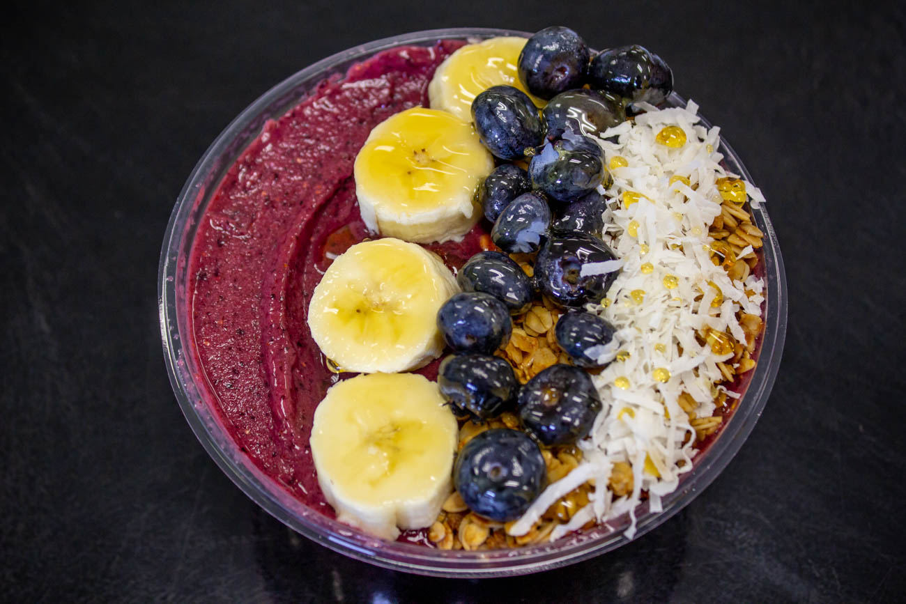 Acai Bowl: pureed acai with banana, coconut, blueberries, oats, and honey / Image: Katie Robinson, Cincinnati Refined // Published: 11.18.19