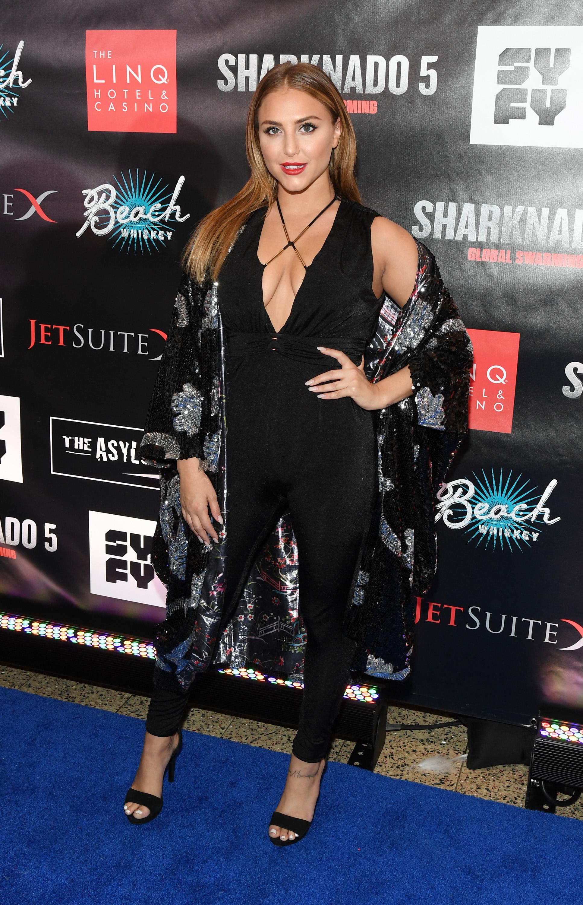 "LAS VEGAS, NV - AUGUST 06:  Actress Cassie Scerbo attends the premiere of ""Sharknado 5: Global Swarming"" at The LINQ Hotel & Casino on August 6, 2017 in Las Vegas, Nevada.  (Photo by Ethan Miller/Getty Images for Caesars Entertainment )"