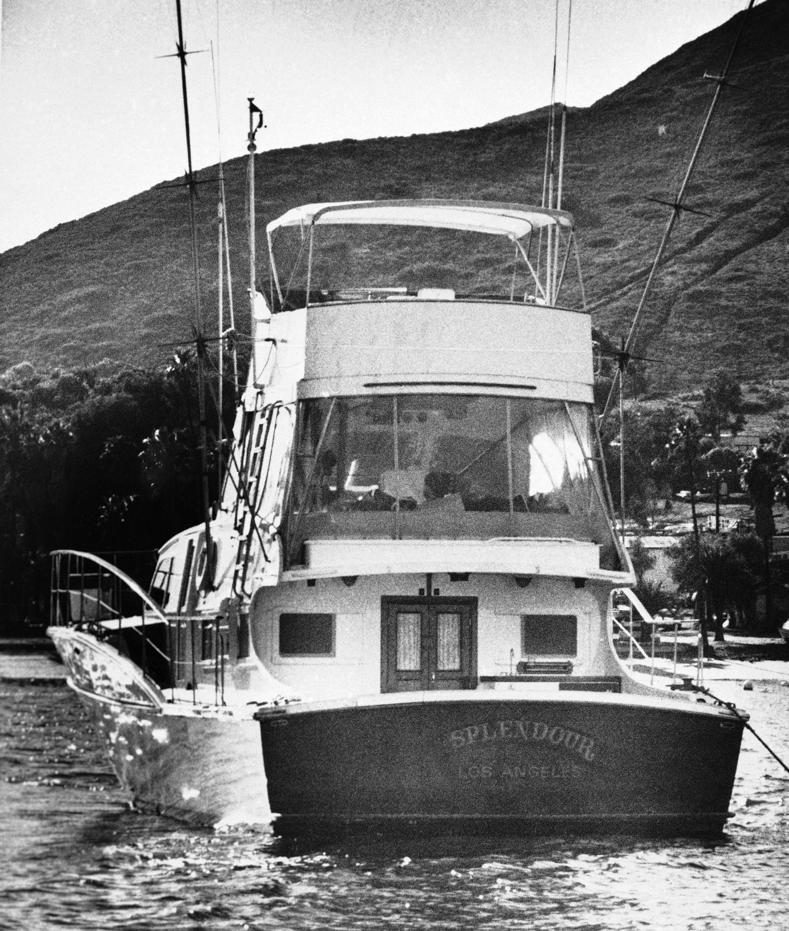 "FILE - This Nov. 29, 1981 file photo, the 55-foot yacht ""Splendour,"" belonging to actor Robert Wagner and his wife, actress Natalie Wood, sits in the waters at Avalon, Calif., on Santa Catalina Island, near where rescuers found the body of Wood, an apparent drowning victim. Investigators are now calling Wagner a ""person of interest"" in the 1981 death of Wood. Mystery has swirled around Wood's death. It was declared an accident but police reopened the case in 2011 to see whether Wagner or anyone else played a role (AP Photo/Paul J. Harrington, File)"