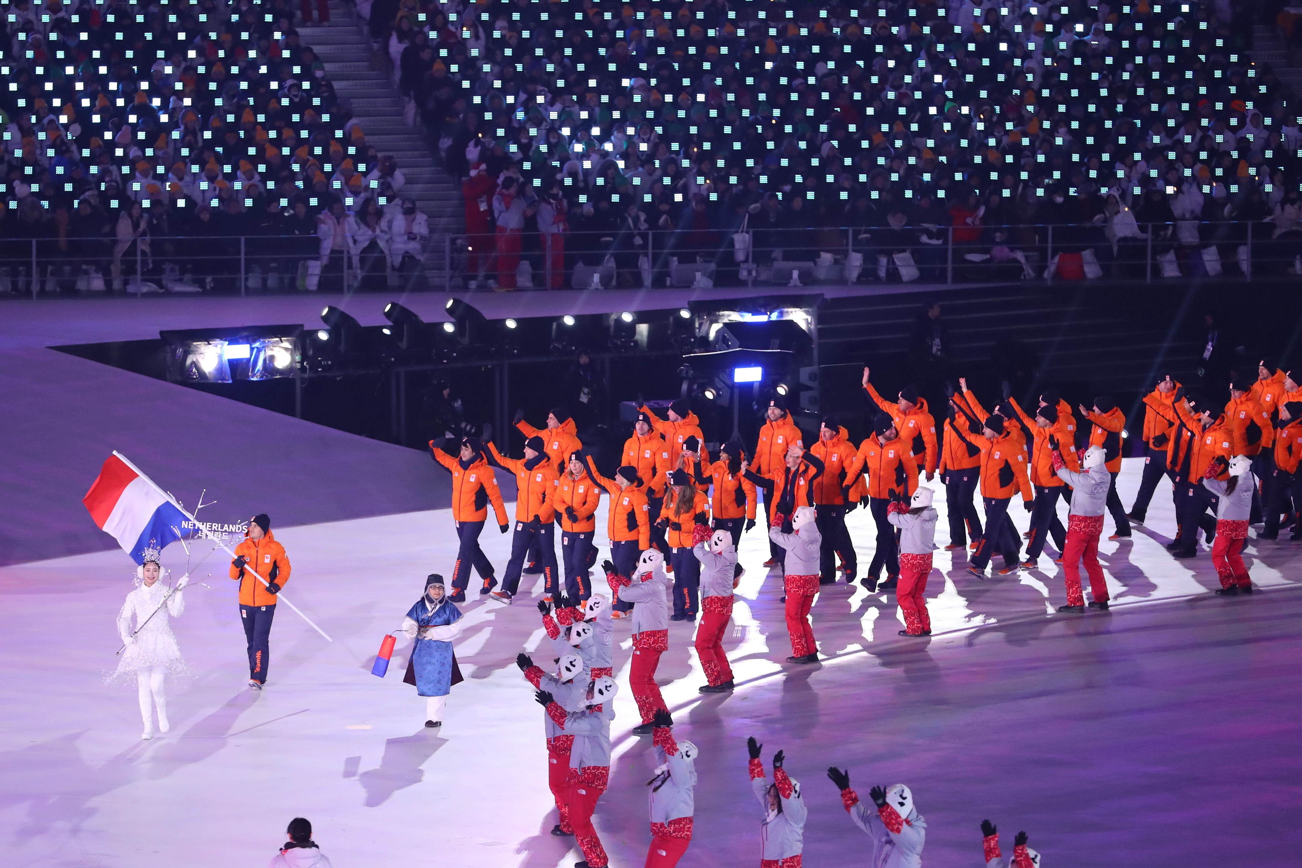 2018 Winter Olympic Games - Opening Ceremony Holland / Netherlands,  PYEONGCHANG-GUN, SOUTH KOREA - FEBRUARY 09: Flag bearer Jan Smeekens of the Netherlands leads his country out during the Opening Ceremony of the PyeongChang 2018 Winter Olympic Games at PyeongChang Olympic Stadium on February 9, 2018 in Pyeongchang-gun, South Korea.  XXIII. OLYMPIC WINTER GAMES PYEONGCHANG 2018: OPENING CEREMONY,  PyeongChang, Korea, Winter Olympics; PyeongChang Olympic Stadium, on 9. February 2018, fee liable image, copyright © ATP / OSADA Yohei  Featuring: Flag bearer Jan Smeekens of the Netherlands leads his country Where: Pyeongchang, Gangwon Province, South Korea When: 09 Feb 2018 Credit: ATP/WENN.com  **Not available for publication in Germany or France. No Contact Music.**