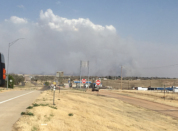 Fire crews are working a fire east of Shamrock between Carbon Black road and I-40. (Photo Courtesy: ABC 7 Amarillo-Tiffany Lester)
