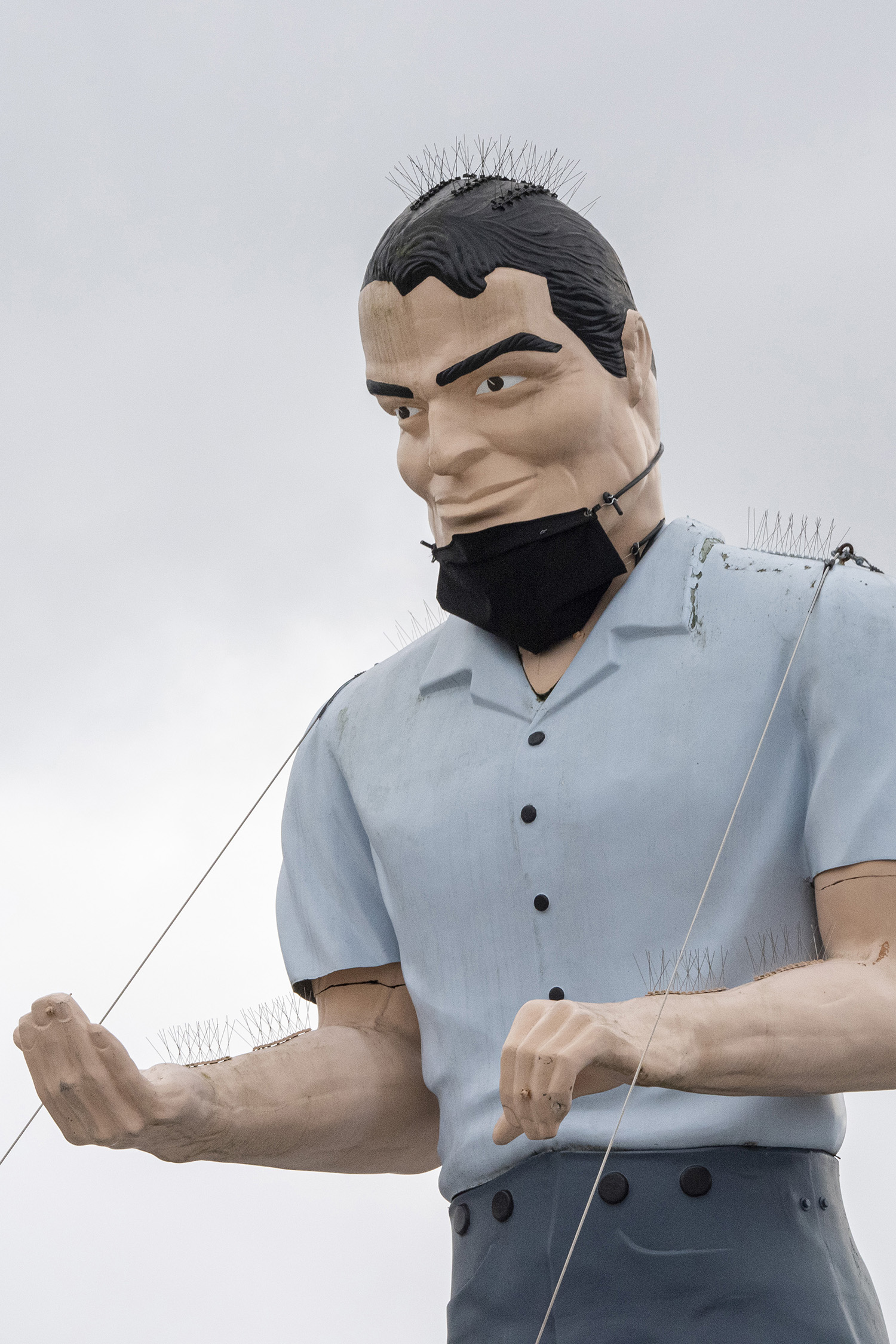 According to Roadside America, a detailed history of the Muffler Man is somewhat fuzzy, but most historians claim the fiberglass statues were originally created by International Fiberglass Company for larger-than-life, roadside advertising. (Rachael Jones / Seattle Refined)