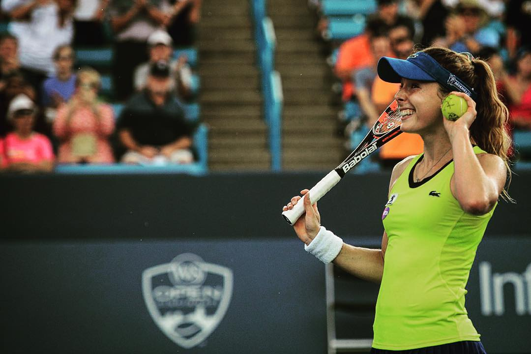 IMAGE: IG user @wtaspot / POST: @alizecornet is happy and through the 2nd round at @cincytennis #cornet #larsson #cincytennis #cincinnati #hardcourt #usopenseries #tennis #summer #wta #ontour #usa