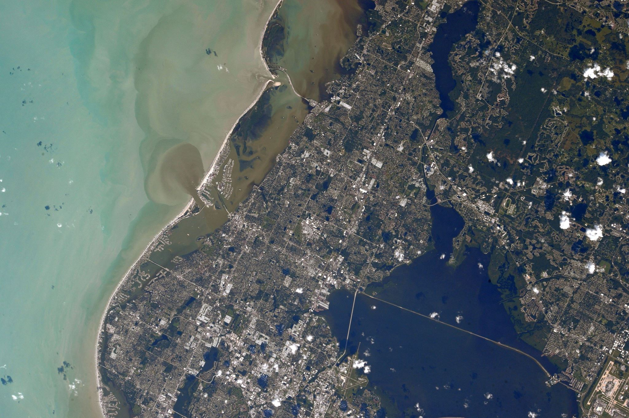 Photos from Randy Bresnik on the International Space Station showing the sediment churned by Hurricane Irma in Florida and the Caribbean. (Photo: Randy Bresnik / NASA)