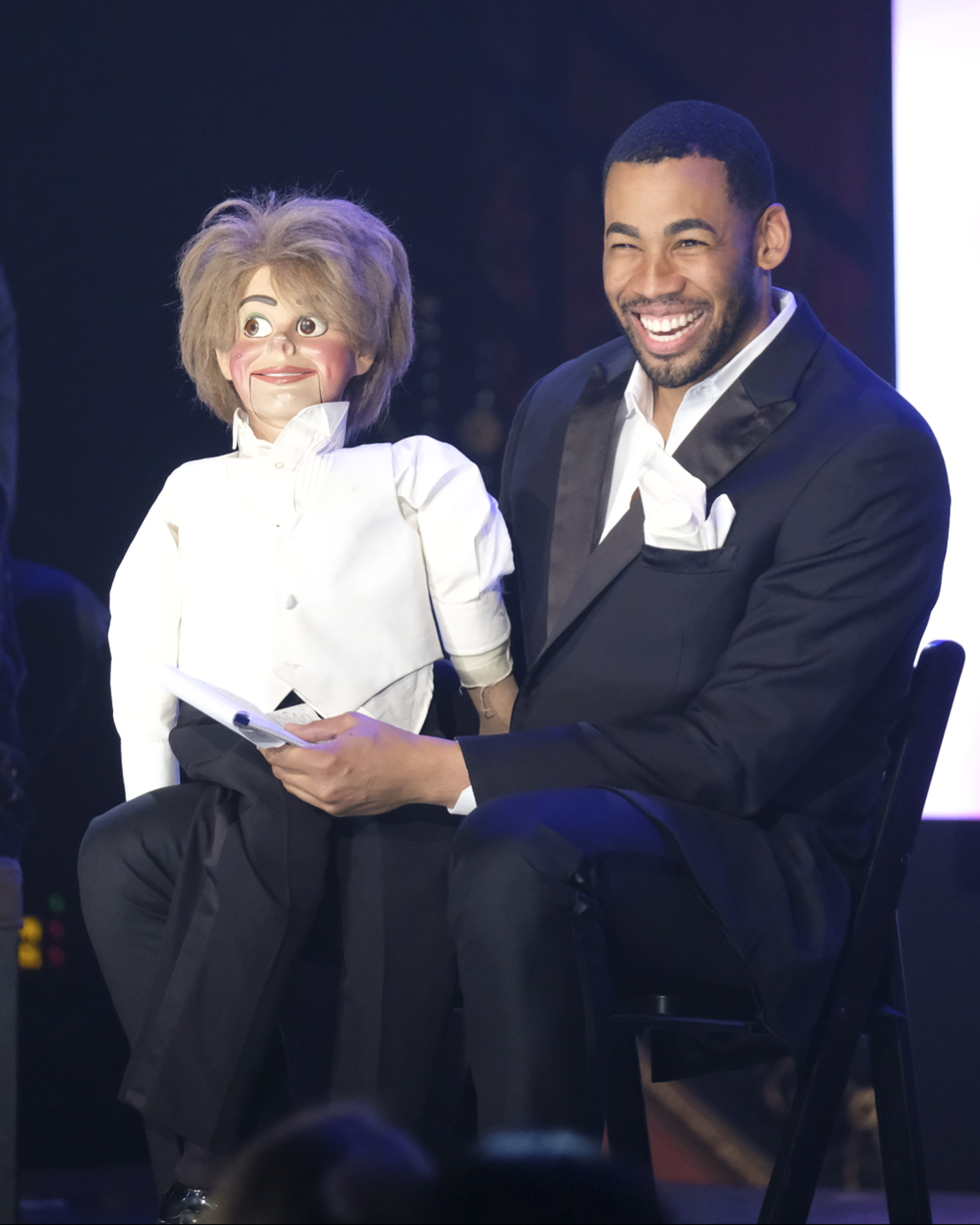 It wouldn't be a talent show without a slightly terrifying ventriloquy act so thanks Mike for providing that! (Image: John Fleenor/ ABC)