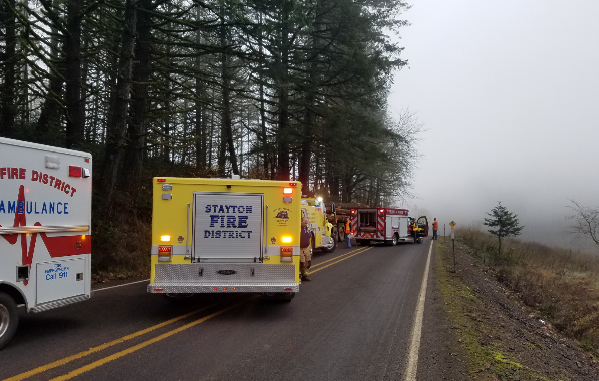 A 17-year-old driver suffered serious injuries Tuesday when his Honda Civic collided head on with a log truck, Oregon State Police said. (OSP)