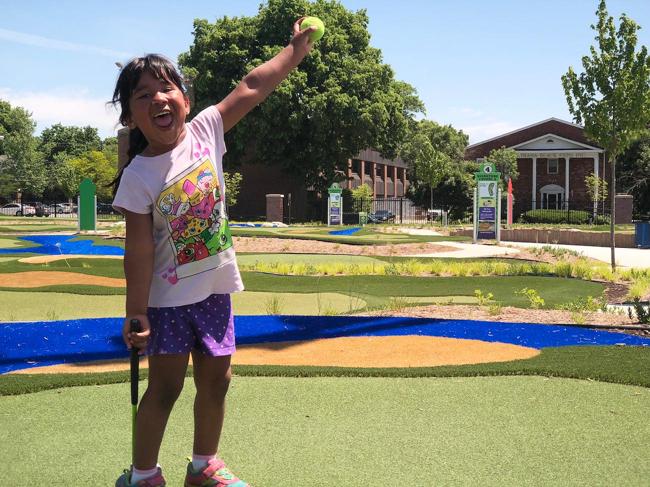 The Children's Museum of Indianapolis' Pete and Alice Dye Golf Experience invites legends-in-the-making to play on smaller scale versions of famous golf holes. / Image courtesy of Children's Museum of Indianapolis // Published: 4.2.19