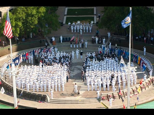 A sea of white uniforms greets visitors to the Navy Memorial as sailors gather to celebrate the 72nd anniversary of the Battle of Midway in Washington, D.C., June 4, 2014