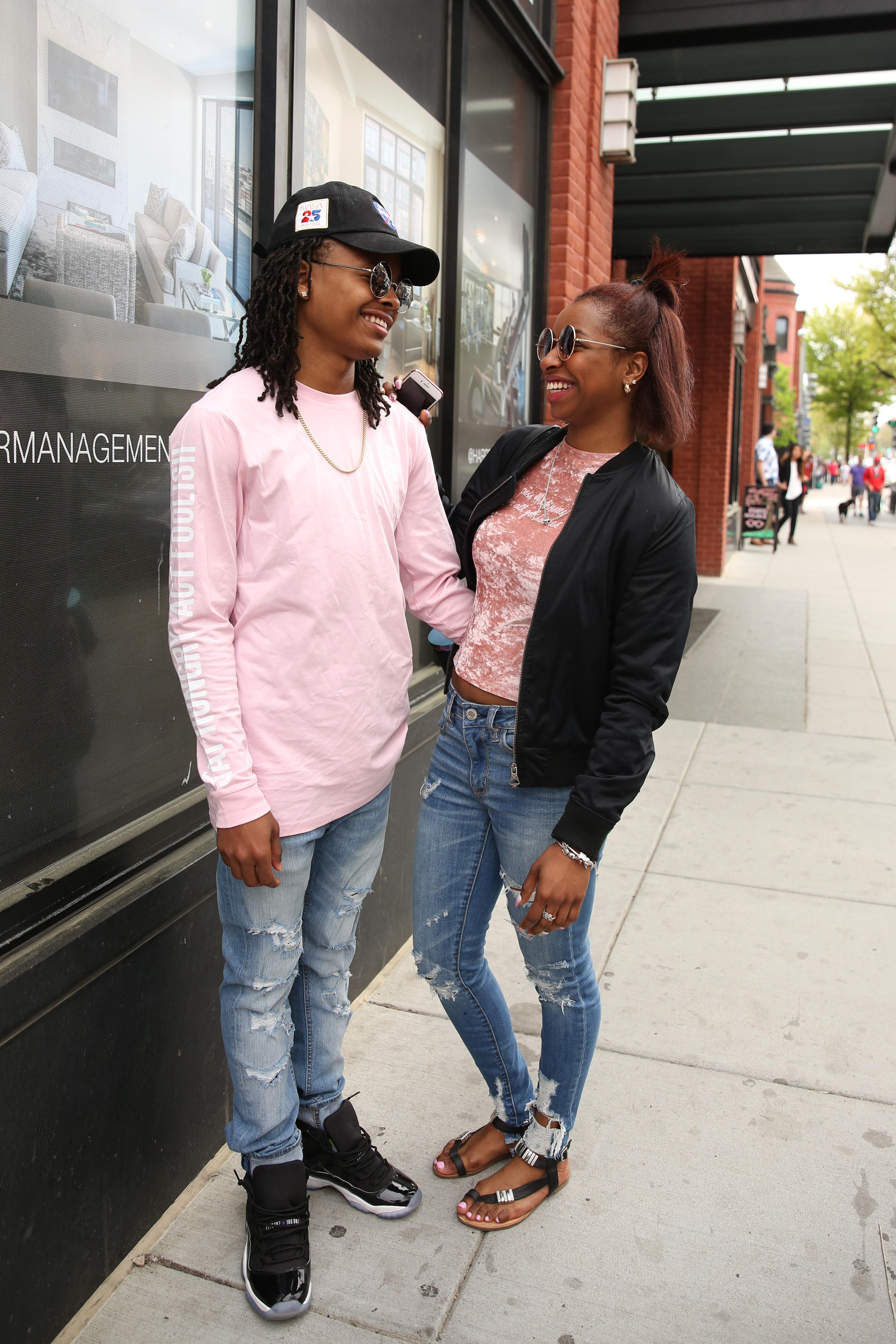 Millennial pink is an overplayed term, but it looks great on Denasia Collins and Obasi Hosang.(Amanda Andrade-Rhoades/DC Refined)