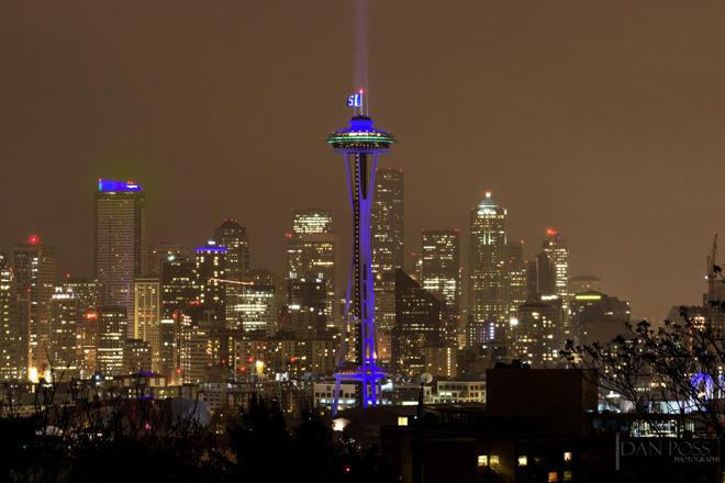 Space Needle shines in honor of Seahawks 12s. Photo: Dan Poss Photography