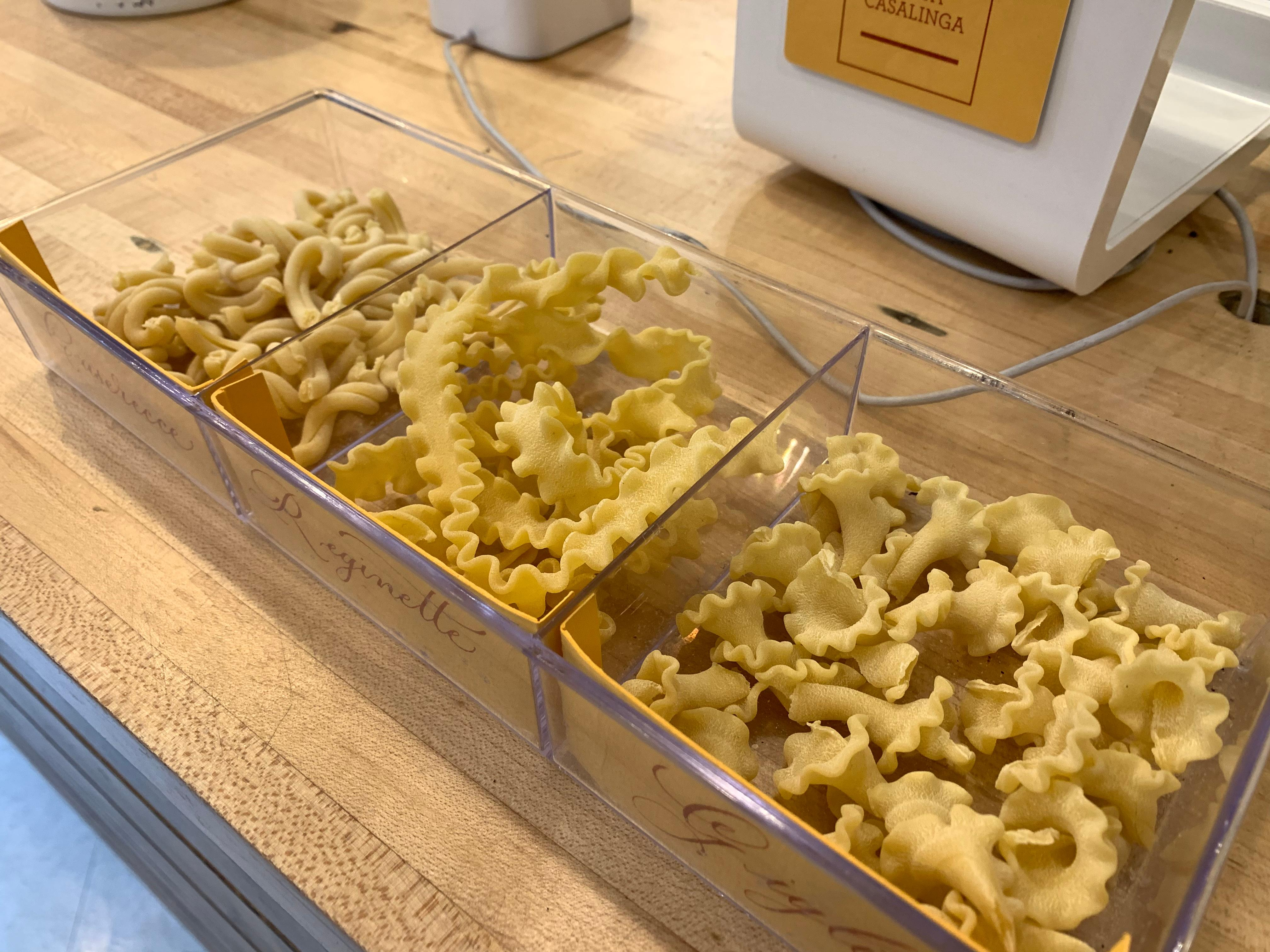 A few of the pasta shapes at Pike Place Market's Pasta Casalinga. From left to right, Casarecce, Reginette, and Gigli. (Image: Frank Guanco)