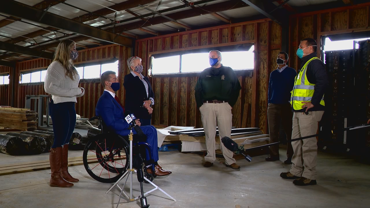 Jan. 26, 2021 - U.S. Congressman Madison Cawthorn (R-District 11) saw a COVID-19  vaccination site at the Tryon International Equestrian Center in action. (Photo credit: WLOS Staff)