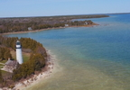 An aerial view of the Cana Island Lighthouse in the Door County Town of Baileys Harbor May 3, 2017.