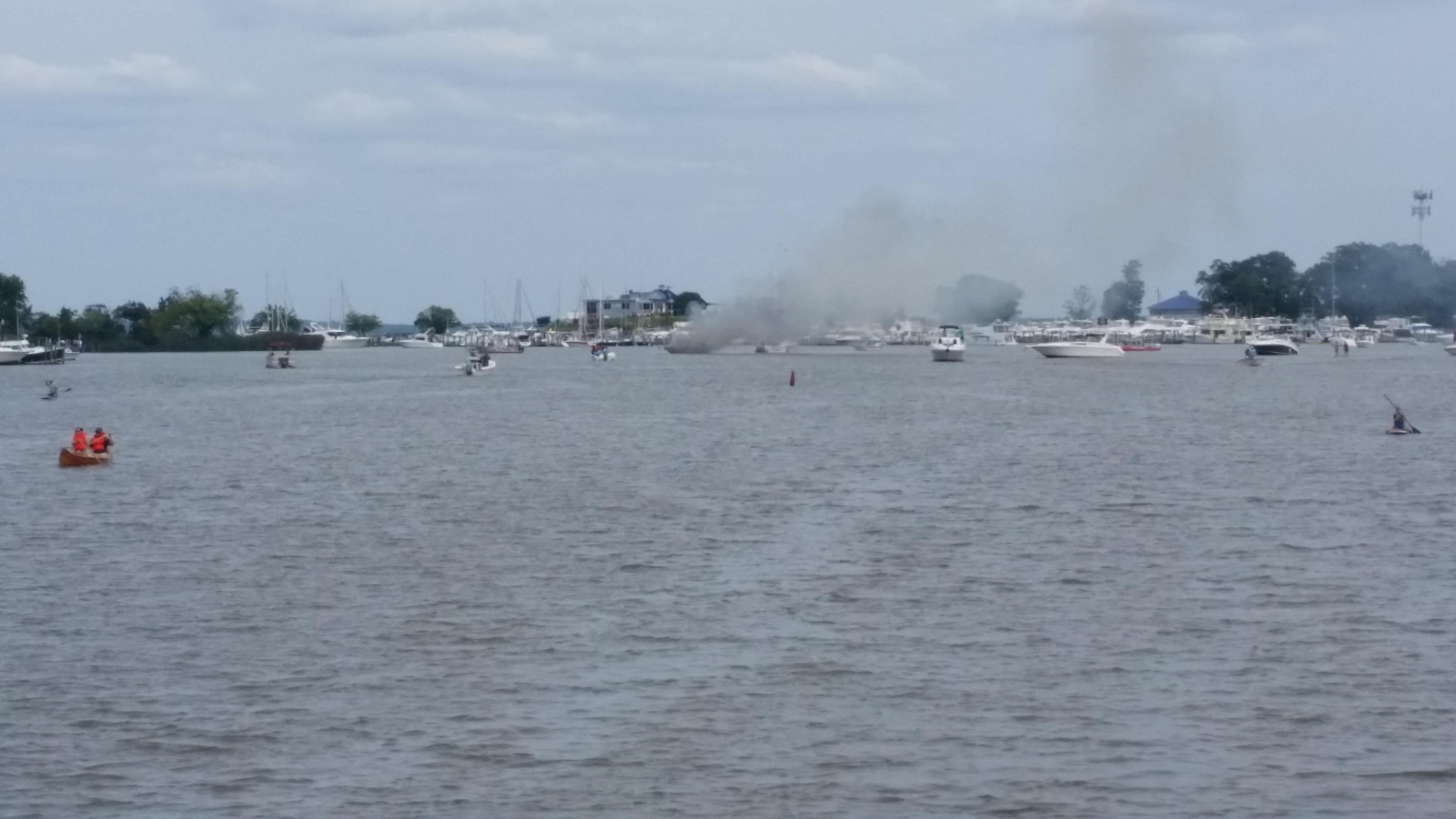 Large boat fire occurs on Sue Creek in Essex on Sunday afternoon. Photo courtesy of Jim Pumphrey.