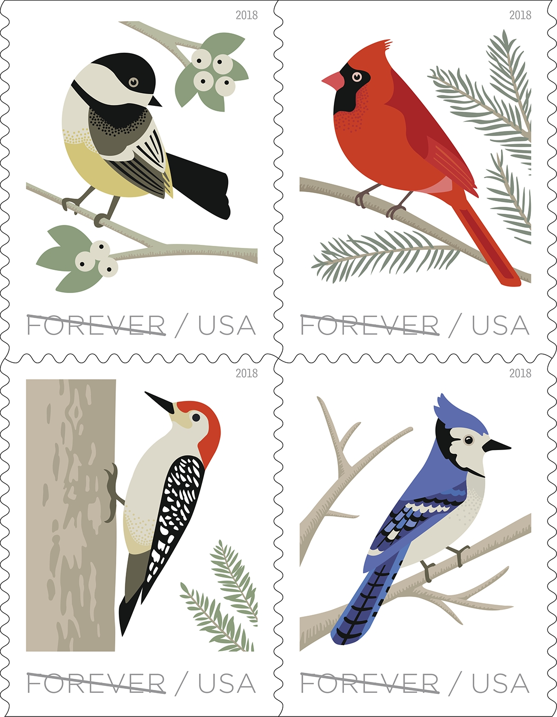 Birds in Winter: Birds in Winter celebrates four of winter's winged beauties: the black-capped chickadee (Poecile atricapillus), the northern cardinal (Cardinalis cardinalis), the blue jay (Cyanocitta cristata), and the red-bellied woodpecker (Melanerpes carolinus).  (USPS)